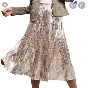 Anthropologie Silver Metallic Pleated Midi Skirt